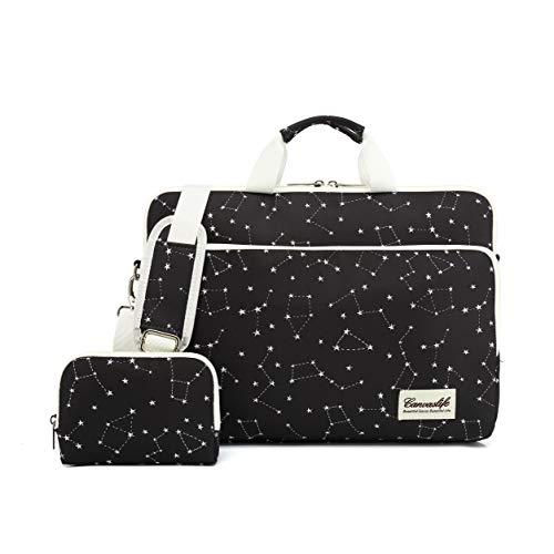 canvaslife 360 Degree Protective Water Resistant Laptop Shoulder Messenger Sleeve Case Bag (15 inch-15.6 inch, New Black Stars)