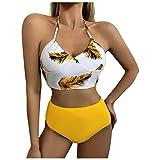 YANFANG Traje de baño Atractivo de la división del Traje de baño de la Costura de la impresión de Las Correas de Las Mujeres,Bikini Acolchado con Tirantes Bikini Tanga Brasileño