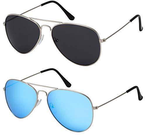 La Optica B.L.M. Herren Sonnenbrillen Damen UV400 Pilotenbrille Fliegerbrille - Doppelpack Set Silber (Gläser: 1 x Grau, 1 x Türkis Verspiegelt)