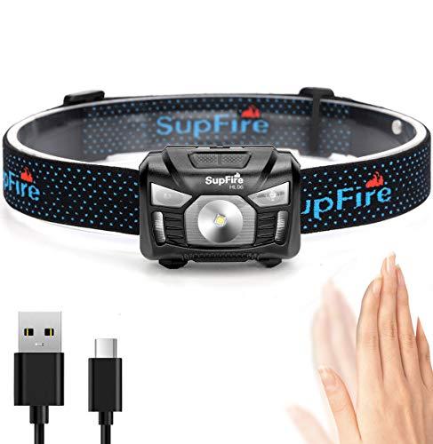 Supfire LED Stirnlampe Kopflampe Super Helle Taschenlampe 500 Lumen CREE Scheinwerfer mit Rotem Licht und Temperatur Schalter,Aufgeladen mit USB Kabel Direkt,5 Modi für Camping Radfahren,Modell HL06