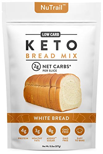 NuTrail™ - Keto Bread Mix - Only 2g Net Carbs per slice - Makes 1 Large Loaf - Low Carb Food - Easy Baking (13.3 oz) (White Bread)