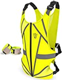 Reflective Running Vest | 25% Reflective Tape Surface | Full Torso Cover | Reflective Running Gear for Cycling, Jogging, Motorcycle | 6 Pts Adjustable Reflective Vest | Easy-On Front Zipper (Green)