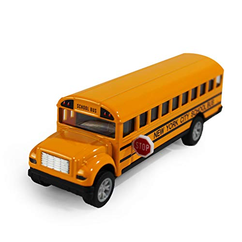 P&F Die-Cast Metal New York City School Bus with Pullback Function Realistic Lifelike Detailing and Paint - 5 Inches