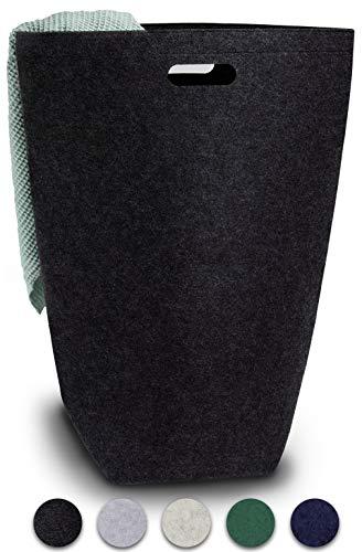 Elwin Neiles® <80L/Schwarz> Designer Wäschekorb aus stilvollem Filz - Faltbarer Wäschesammler mit Griffen & Magnetverschluss - Wäschesack