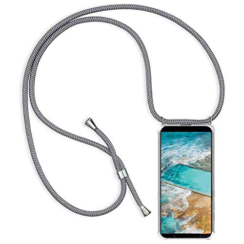 Xindong Casete de Cable para iPhone 7 Plus (5.5''), Casete de Cable Cruzado para iPhone 7 Plus (5.5''), Casete de Cable Ajustable para iPhone 7 Plus (5.5'') - Transparente-Gris