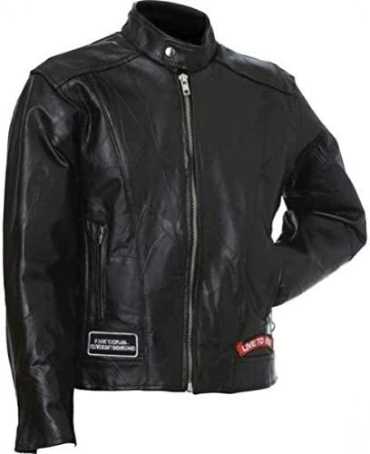 Diamond Plate Rock Design Genuine Buffalo Leather Motorcycle