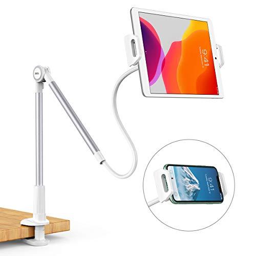 Dracool für Schwanenhals Tablet Halter iPad Halterung Ständer Handy Halter Arm Lazy 360° Flexibler im Bett Tisch für iPad Mini Pro Air, Samsung Galaxy Tabs und Andere 4,7-10,5 Zoll Geräte - Silber