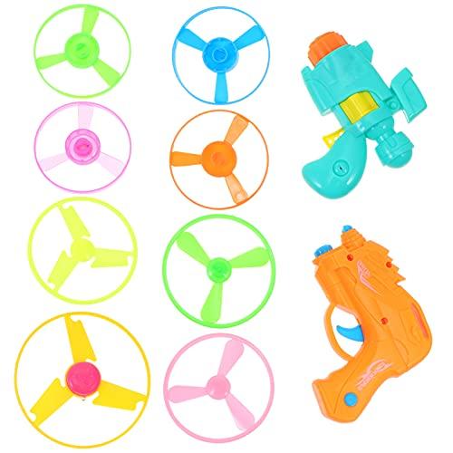 TOYANDONA 2 Juegos de Lanzador de Disco Volador Juego de Lanzador de Platillo Volador para Niños Niños Niñas en Interiores Y Exteriores Juguetes de Mosca