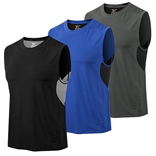 MEETYOO Camiseta Tirantes Hombre, Camisetas Sin Manga Fitness Tank Top Gym T Shirt para Deportes Running