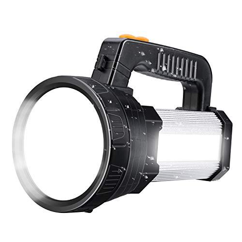 Spotlight Super Bright LED Handheld Flashlight 6000 Lumen Super Bright Waterproof 6 Lighting Modes Side Searchlight 9600MAh Large Battery Rechargeable Spot Light with Foldable Tripod Silver