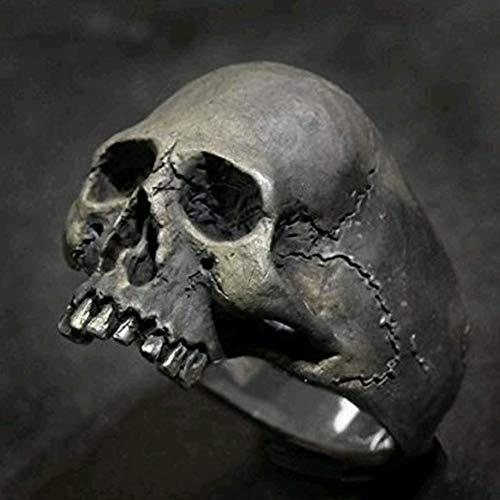 WTZWY Anillo para Hombre Vintage Zinc Alloy Full Jaw Biker Harley Masonic Men Skull Ring, Rock Roll Gothic Punk Jewelry Ring,7