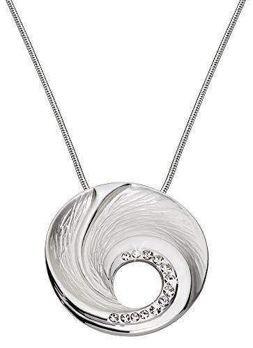 Perlkönig Kette Halskette | Damen Frauen | Silber Farben | Runder Anhänger | Glitzer Steine | Nickelabgabefrei