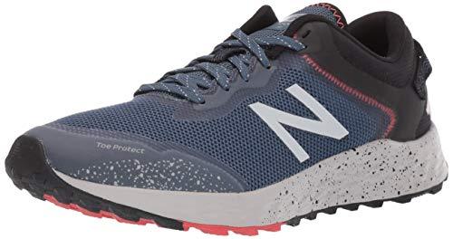 New Balance Men's Arishi V1 Fresh Foam Trail Running Shoe, Stone Blue/Black/Toro Red, 9.5 D US
