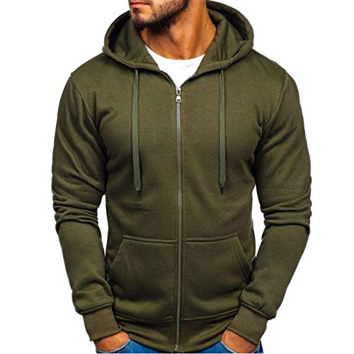 Men Hooded Jacket Medium Length Solid Color Jacket Spring and Autumn Sport Casual Transitional Jacket Soft Comfortable Sport Jacket Zipper with Pockets .Z-Army Green M