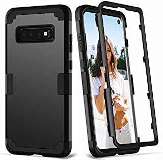 3 in 1 Hybrid Silicone Rubber Hard Plastic Bumper Shockproof Protective Phone Case Cover for Samsung Galaxy S10 Plus,Black