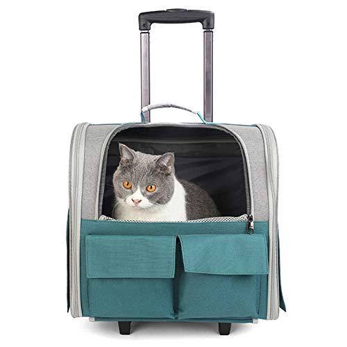 ZWW Mochila Transportador De Mascotas con Ruedas, Maletín Plegable con Ruedas para Gatos Y Asa Telescópica | Bolso De Mano De Viaje Ventilado para Perros Pequeños,1 Green