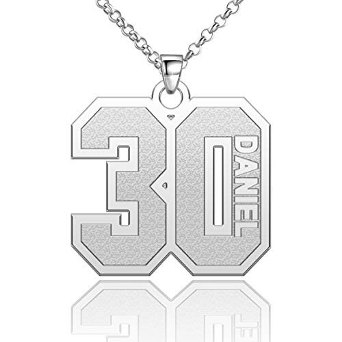 Moonlight Collections Number Necklace with Name Personalized Engraved Custom Number Chain 925 Sterling Silver