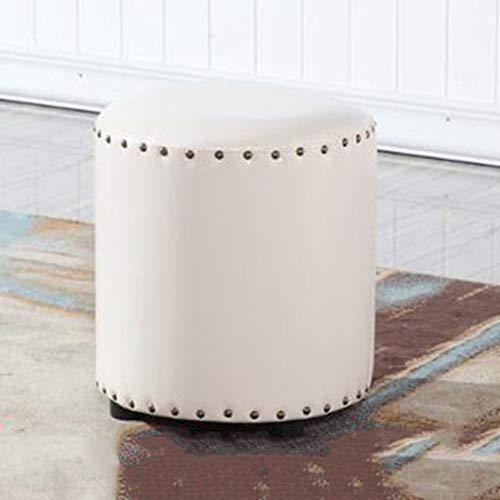 YLCJ American Retro Change schoenen salontafel rond klein blok leer waterdicht gemakkelijk te reinigen (kleur: zwart, maat: 35 x 35 x 40) 32 * 32 * 35 Wit