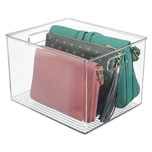 """mDesign Plastic Home Storage Basket Bin with Handles for Organizing Closets, Shelves and Cabinets in Bedrooms, Bathrooms, Entryways and Hallways - Store Sweaters, Purses, Hats - 8"""" High - Clear"""