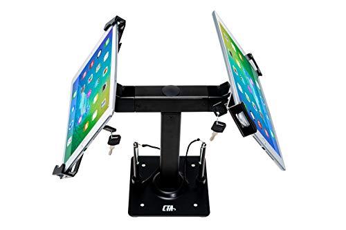 CTA Digital: Security Kiosk Dual Stand for 7-14' Tablets/iPad 10.2-Inch (7th Gen.)/12.9-Inch iPad Pro/ 11-Inch iPad Pro/iPad 6, iPad Mini 5/iPad Air 3/Surface Pro 4 & More, Black