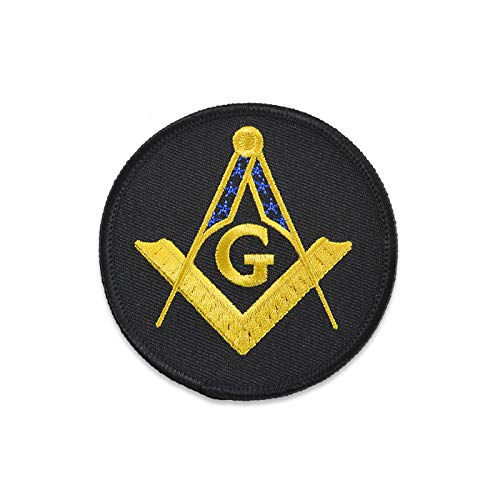 Square & Compass Round Embroidered Masonic Patch - [Black, Gold & Blue][3'' Diameter]