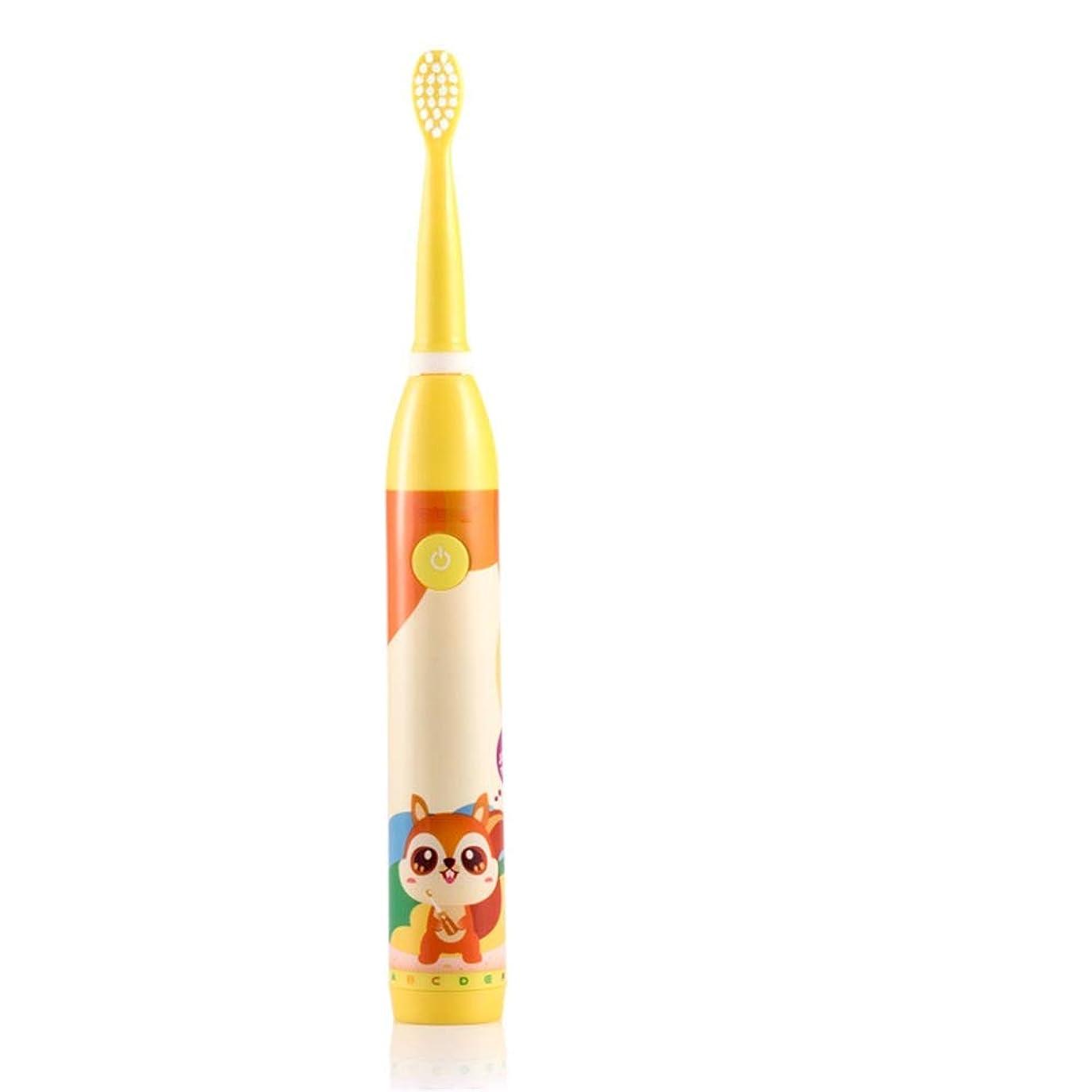 伝染性告白エンドウ電動歯ブラシ 子供のために適した子供の電動歯ブラシUSB充電式防水歯ブラシ2-5 (色 : 黄, サイズ : Free size)