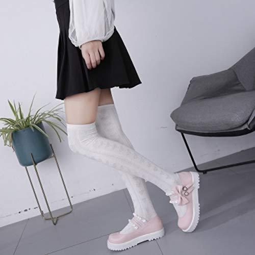 PINGXIANNV Lolita Schuhe Frühling Lolita Beschuht Frauen Sommer Kawaii Schuh Koreanische Artart Und Weise Süße Nette Bogenmädchenfreunde Cosplay Beschuht Frauen