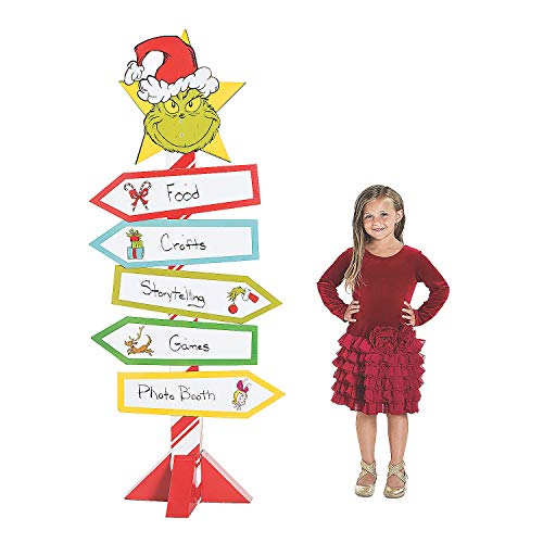 Dr. Seuss™ The Grinch Directional Sign Cardboard Stand-Up - Party Decor - 1 Piece