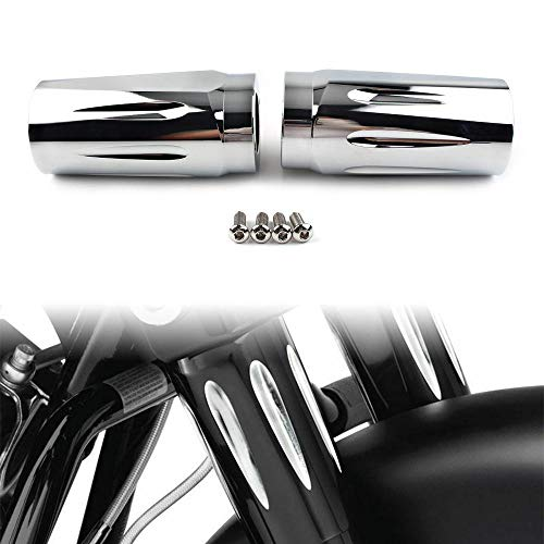 Three T Chrome Motorcycle Motor Front Fork Boot Slider Shock Suspension Cover Fit for Harley Touring Road King Electra Glide FLTR Trike 1986-2013