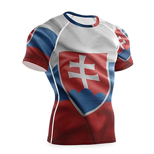 Magnesis Camiseta de compresión de manga corta con diseño de bandera de Eslovaquia