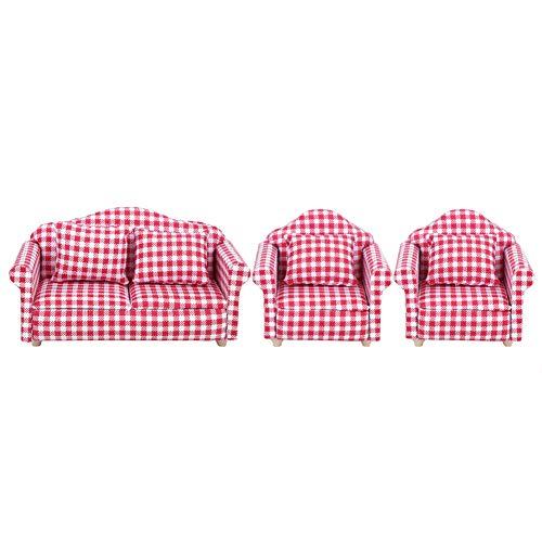 CHICIRIS - Divano per casa delle bambole in scala 1:12 per la decorazione dei bambini (divano in tessuto)