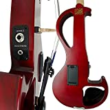 Electric Violin Bunnel Edge Outfit 4/4 Full Size (Clear) (RED)- Electric Amp, Carrying Case and Accessories Included - Headphone Jack - Highest Quality with Piezo ceramic pick-up