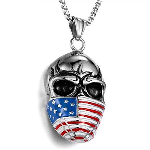 L@CR Titanio in Acciaio Collana Uomo della Maschera Americana Bandiera Mascherata Cranio in Acciaio Inox Pendente,Silver