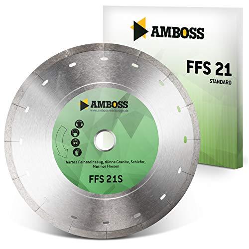 Amboss FFS 21 - Diamant-Trennscheibe Ø 180 mm x 25,4 mm - Hartes Feinsteinzeug (bis 0,8 cm) / Granit/Schiefer/Marmor/Fliesen | Segmenthöhe: 5 mm