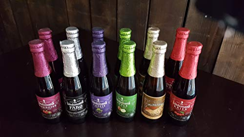 Lot de 12 bières LINDEMANS fruits variés 3° (2 krieks cerise, 2 framboises, 2 pêches, 2 pommes, 2 cassis, 2 faros)