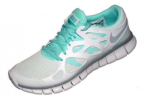 NIKE Wmns Nike Free Run 2, Damen Sportschuhe, Weiss (WHITE/Wolf Grey-Artisan Teal-WHITE), EU 37.5