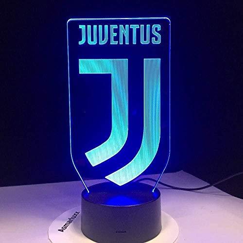 Boutiquespace Lampada da notte illusione 3D per bambini decorazione regalo di compleanno lampade da tavolo calcio juventus club nuovo logo animali per bambini papà amici dropship