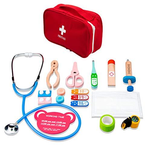 Oeasy 15 Stück Arztkoffer Kinder Holz, Holz Doktorkoffer Holz Arztkoffer Doktorspiele Arztspiele Rollenspiel Spielzeug für Kinder ab 3 Jahre
