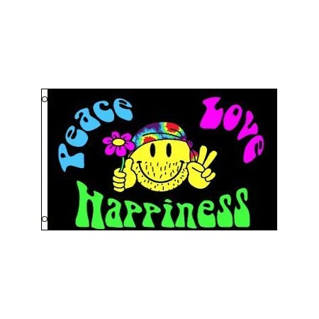 Smiley Face Peace Love and Happiness Flag 3x5ft Polyester Hippie Happy Face
