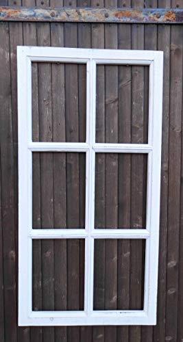 Deko-Impression Fenster Sprossenfenster Bilderrahmen Wanddekoration Holz Weiss 85 x 43