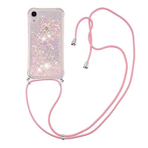 Custodia protettiva in silicone TPU con cordino per iPhone XR (6,1 pollici) (stelle rosa fluorescenti)