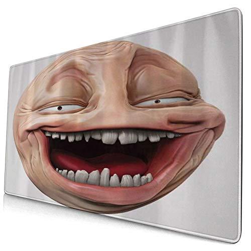 HUAYEXI Gaming Mauspad 750x450mm,Poker Face Guy Meme Lachende Scheinperson Selbstgefällig Dumme Ungerade Post Forum Grafik,Gaming und Office rutschfeste Gummibasis Mauspads