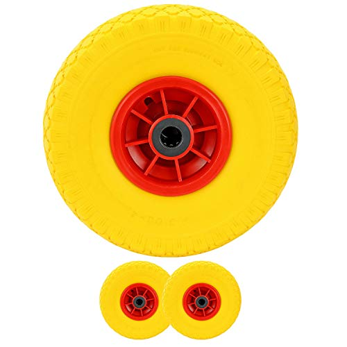 MultiWare 10 Solid Rubber Tyre Wheel Sack Truck Hand Car 4 Pcs Yellow