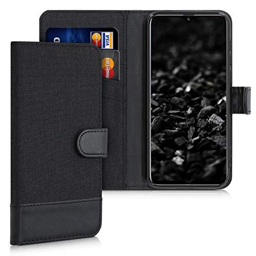 kwmobile Hülle kompatibel mit Ulefone Note 7P - Kunstleder Wallet Hülle mit Kartenfächern Stand in Anthrazit Schwarz