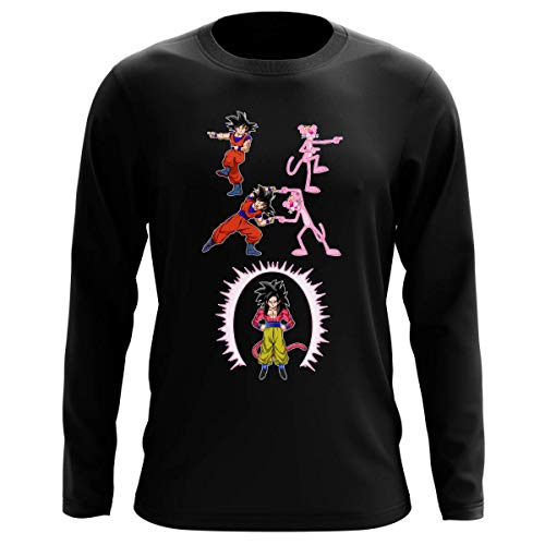 T-shirt manches longues Noir parodie Dragon Ball GT Panthère Rose - Sangoku 4 et la Panthère Rose - L'être le plus puissant de l'Univers !! (Fusion !!) (T-shirt de qualité premium de taille L - impri