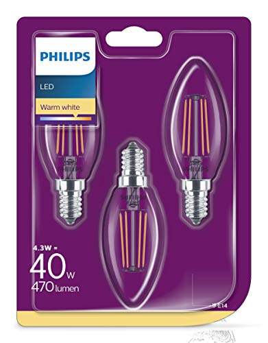 Philips LEDclassic Lampe, Kerzenform, ersetzt 40W, E14, Warmweiß (2700 K), 470 Lumen, 3er Pack, klar