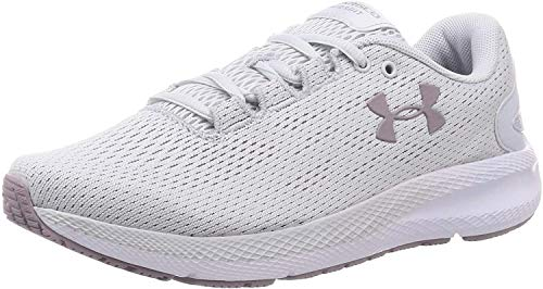 Under Armour Women's Charged Pursuit 2 Running Shoe, Halo Gray (104)/White, 5