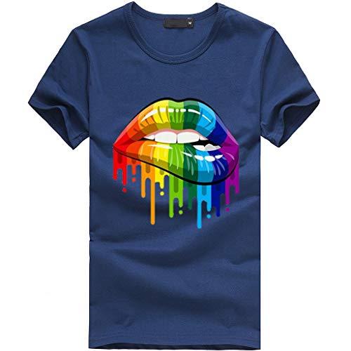 LEXUPE Frauen Plus Size Lippen Geste Print Kurzarm T-Shirt Tops(Marine,XX-Large)