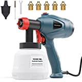 Xoopon Paint Sprayer, High Power HVLP Spray Gun, with 5 Additional Copper Nozzles & 3 Patterns, Easy to Clean, for Furniture, Fence, Wall, etc