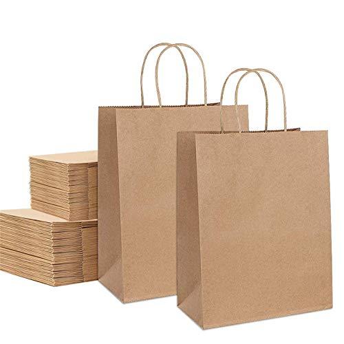 Papiertüten mit Henkel 50 Stück Papiertragetaschen Braune Kraftpapiertüte Geschenktüten Einkaufstasche mit Griff für Lebensmittel Süßigkeiten Backen